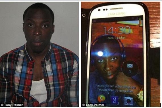 Tên trộm Ibrahim Fofana và bức hình trên điện thoại bỏ quên. Ảnh: Daily Mail