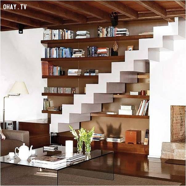 ảnh cầu thang,giá sách,sáng tạo