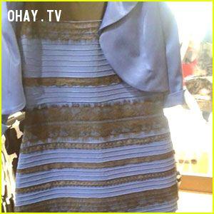 ảnh váy hai màu,xanh đen,vàng trắng,chiếc đầm ma quái