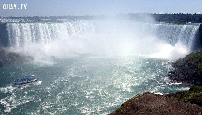 """Thác Niagara: """"Mùa tự tử"""" ở thác Niagara thường bắt đầu từ sau ngày tưởng niệm cuối tháng 5 và thường vào 4h chiều. Hằng năm, có khoảng 20-25 người kết thúc cuộc đời ở con thác hùng vĩ này, biến nơi đây trở thành địa điểm tự sát thứ hai ở Mỹ, chỉ sau cầu Cổng Vàng. Nhà sử gia Paul Gromosiak ước tính có khoảng 2.780 vụ tự tử từ năm 1856-1995, nhưng con số thực tế có lẽ còn lớn hơn nhiều. Thời báo sức khỏe cộng đồng Mỹ năm 1991 cho biết, 59% số người nhảy thác đàn ông và 41% là phụ nữ. Con số này là khá cao vì tỷ lệ phụ nữ tự sát trên cả nước Mỹ chỉ là 24%. Trong nhiều năm, dịch vụ chèo thuyền đưa khách du lịch tại thác còn tiếp quản thêm nhiệm vụ vớt xác chết."""