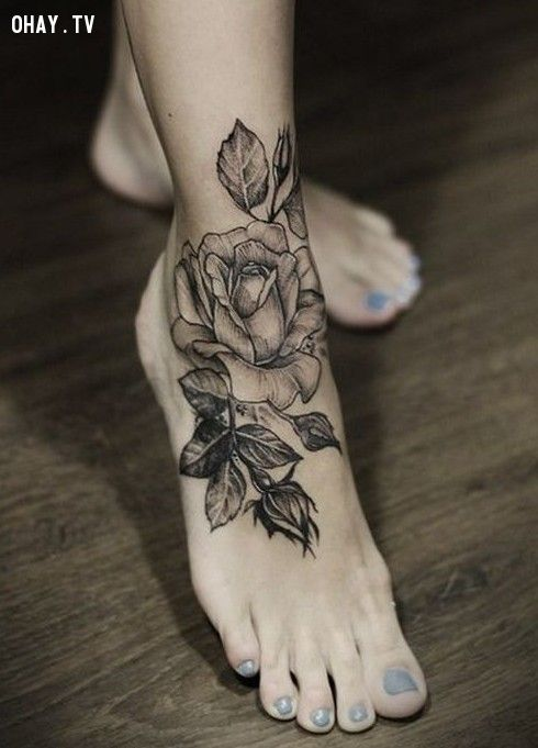 Black Rose tattoo on foot