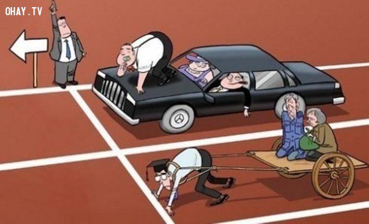 ảnh giàu nghèo,khoảng  cách giàu nghèo,người giàu,người nghèo,cuộc sống,biếm họa