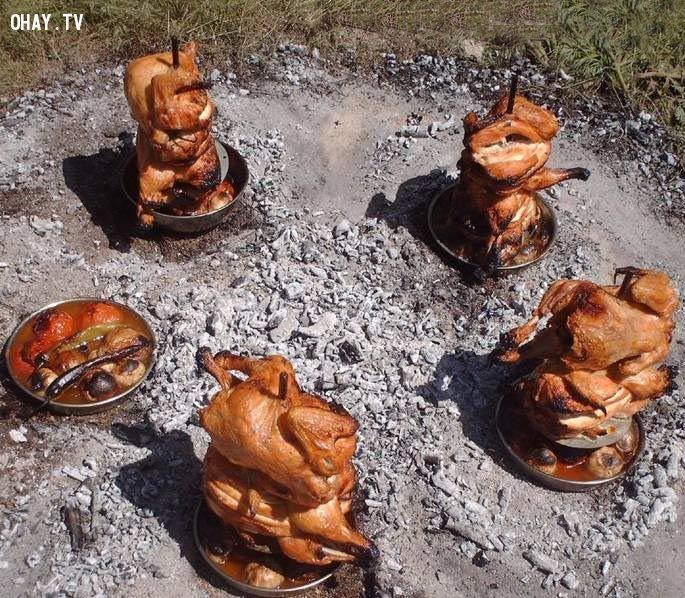 ảnh gà nướng thùng,gà ụp thùng,món ăn chế biến từ gà,món ăn lạ,mẹo hay