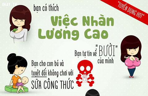 Sài Gòn - Tuyển nhân viên vắt sữa mẹ lương 100 triệu