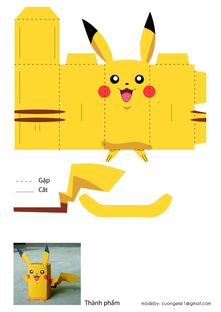 ảnh gấp giấy,cách gấp pikachu,mẹo hay,cách làm quà handmade,tự làm quà tặng