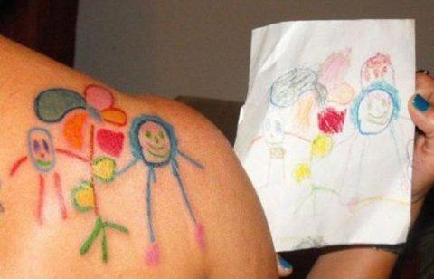 Bạn có dám xăm hình con mình vẽ?