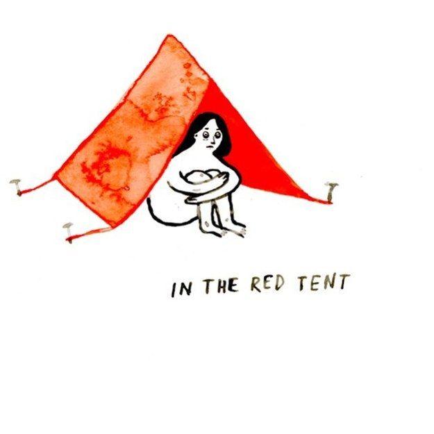 Trong chiếc lều màu đỏ