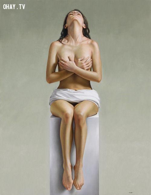 ảnh chủ nghĩa cực thực,ảnh thật,người vẽ,cô gái tuyệt đẹp,bộ ảnh khỏa thân,hình vẽ như thật