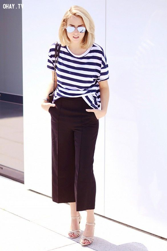 ảnh quần ống rộng,quần culottes,culottes,mẹo mặc quần ống rộng,thời trang,phong cách ăn mặc