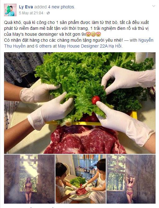 Thiếu nữ Việt mặc bikini 2 mảnh làm từ thịt bò sống gây xôn xao dư luận