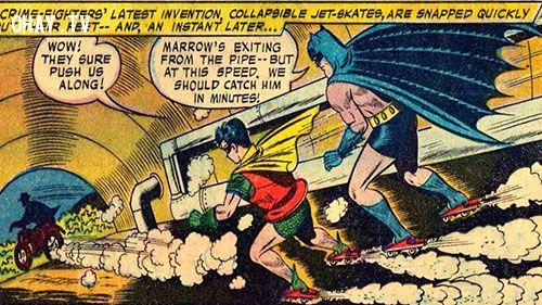 Batman and Robin on jet skates