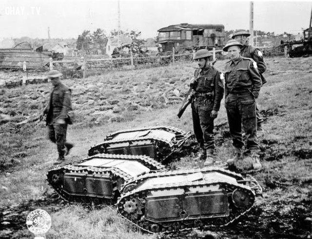 Quân lính Anh bắt được 3 chú Goliath, một loại robot cảm tử phá xe tăng của quân Đức (năm 1939-1945).