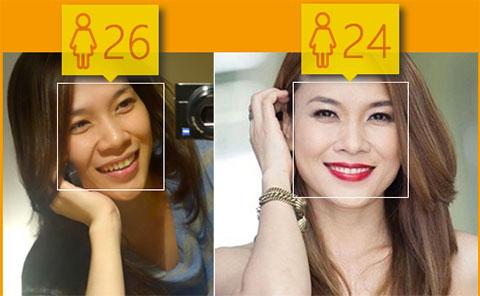 Xem Microsoft đoán tuổi Sao việt trước và sau khi trang điểm.