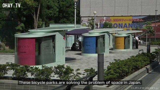 ảnh bãi giữ xe đạp,sáng tạo,người nhật sáng tạo,bãi để xe Eco Cycle