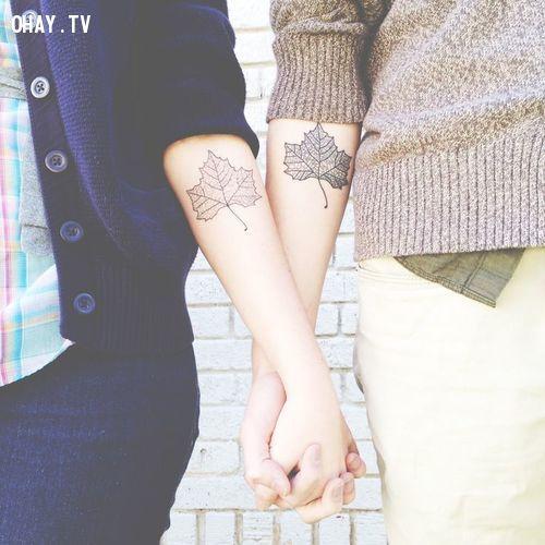 leaf couples tattoo   fall autum tattoo   matching tattoos   InkedWeddings.com
