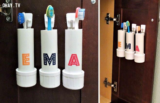 ảnh mẹo sử dụng ống nhựa,tận dụng ống nhựa,mẹo hay,mẹo vặt,mẹo trang trí nhà cửa