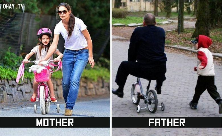 ảnh bố và mẹ,sự khác nhau,chăm con,ảnh hài hước,ảnh hài,bố mẹ chăm con