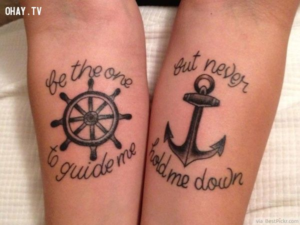 Anchor & Wheel Matching Tattoos For Couples In Love ❥❥❥ http://bestpickr.com/matching-couples-tattoos