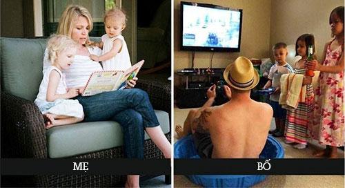 Hài hước bộ ảnh cách chăm con của bố và mẹ
