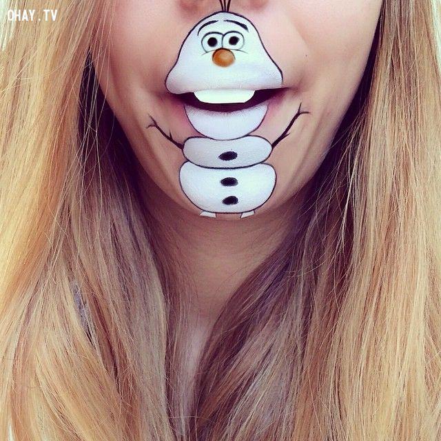 ảnh Laura Jenkinson,ảnh môi,vẽ ảnh hoạt hình trên mặt,vẽ môi