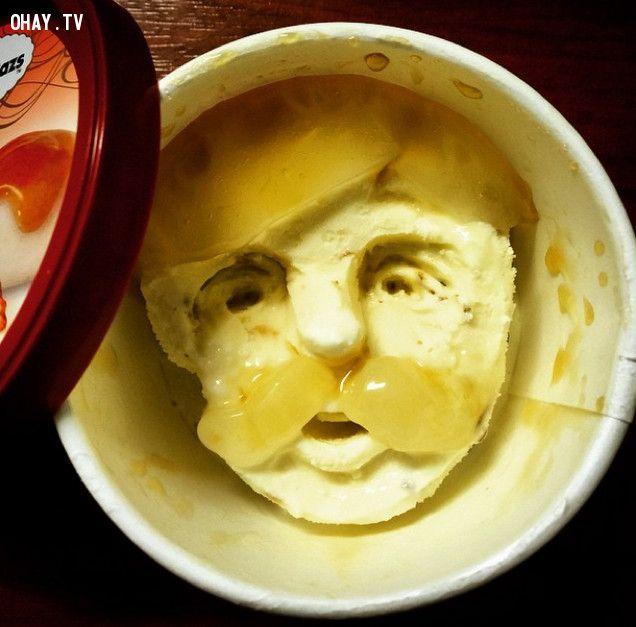 ảnh tác phẩm nghệ thuật từ kem,kem hình mặt người,mặt người làm từ kem,sáng tạo