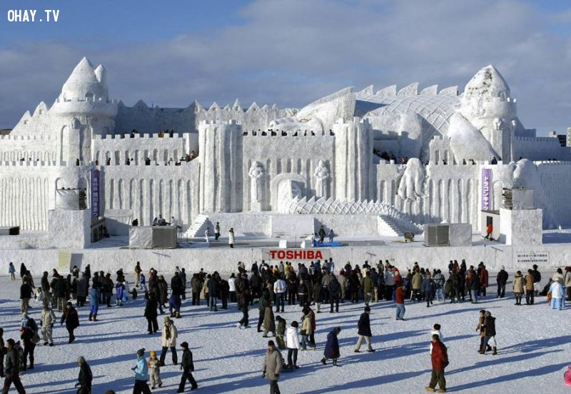 One of the world's largest snow sculptures, 'Dragon Castle'