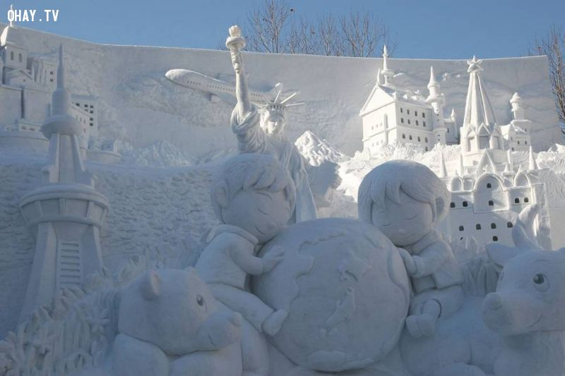 A snow sculpture of 'the Earth and the Future of Our Children'