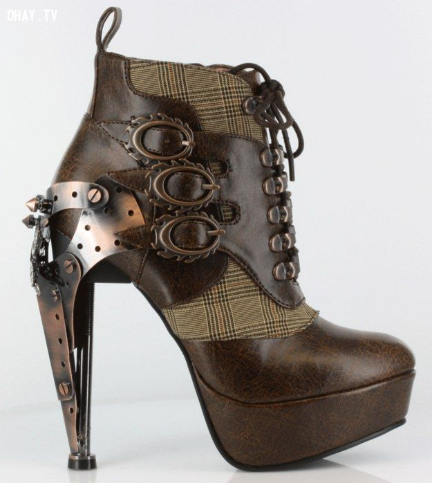 shoe, giày cao gót, lace-up steampunk ankle