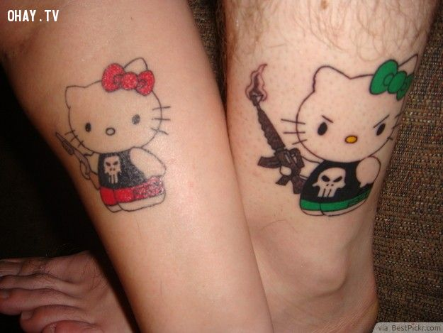Funny Hello Kitty Matching Tattoos For Him And Her ❥❥❥ http://bestpickr.com/matching-couples-tattoos