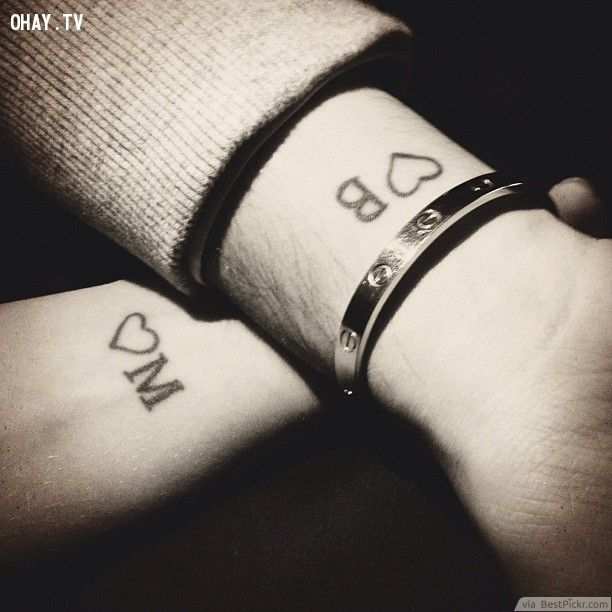Lovers Hearts & Initials Tattoo Idea ❥❥❥ http://bestpickr.com/matching-couples-tattoos
