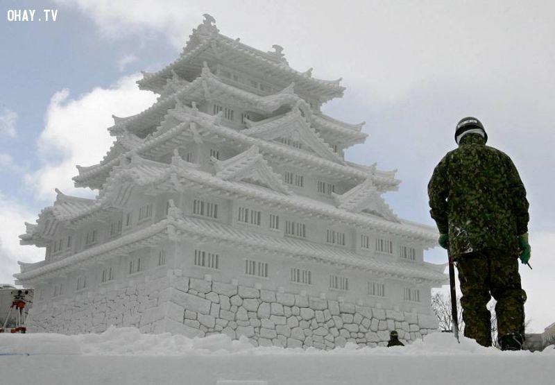A snow sculpture of Nagoya Castle