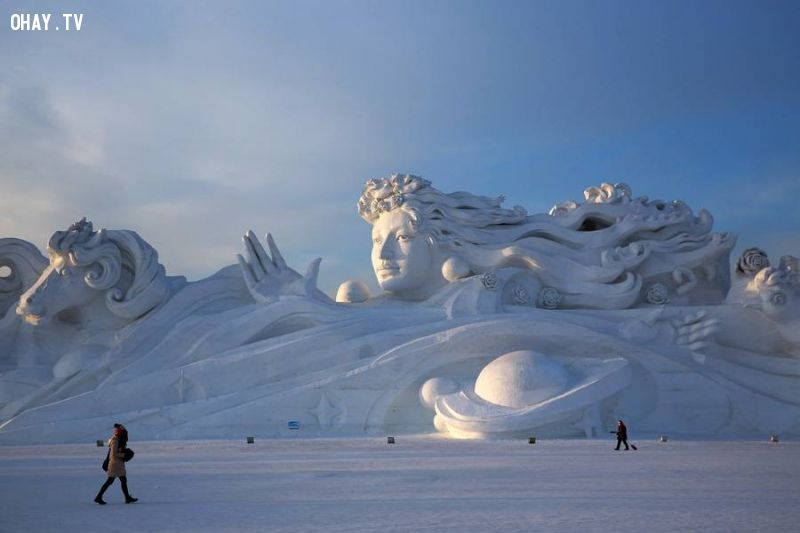 A 380-foot long, 85 feet tall sculpture at the Harbin International Snow Sculpture Art Expo in January 2014