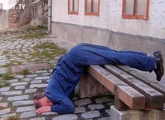 Mặc dù tư thế nằm hơi khó chịu nhưng anh chàng này vẫn ngủ một cách ngon lành