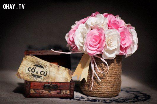 quà handmade, handmade, lãng mạn, tình cảm chân thành, phát sáng , món quà, hoa, lẵng hoa, cổ và cũ