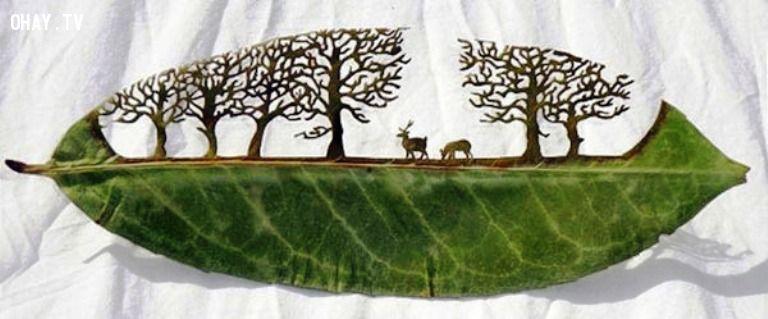 Từ một chiếc lá đơn giản nghệ nhân đã khắc nên một khu rừng hoang dại