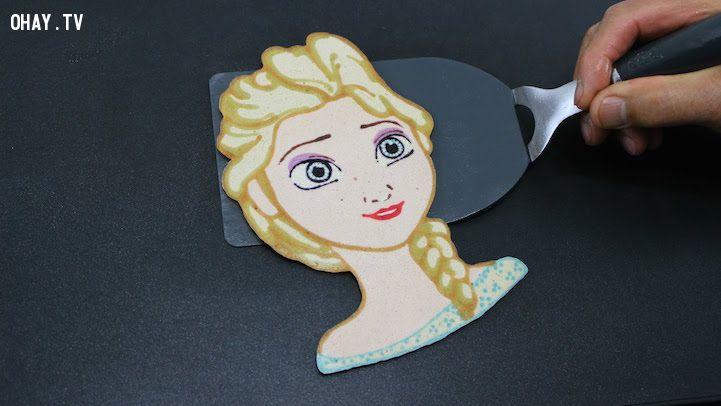 ảnh pancake,Elsa,Tiger Tomato,nhân vật hoạt hình,sáng tạo,bánh pancake
