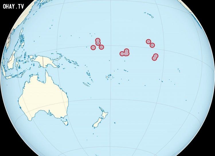 Kiribati nằm trên cả 4 bán cầu