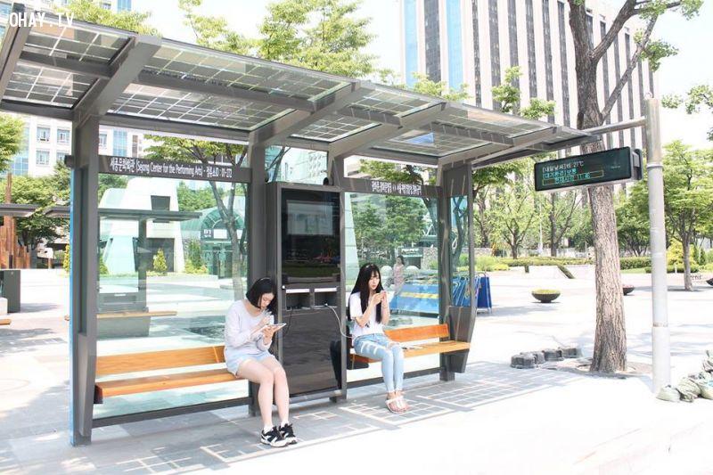 H1. Ảnh trạm chờ xe buýt lắp đặt hệ thống sạc pin từ năng lượng Mặt Trời