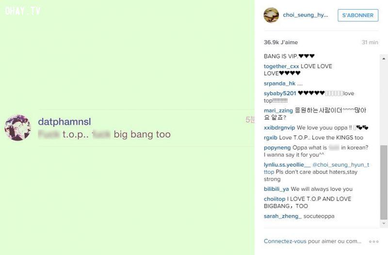 Hình ảnh chụp màn hình bình luận ác ý trên Instagram của TOP