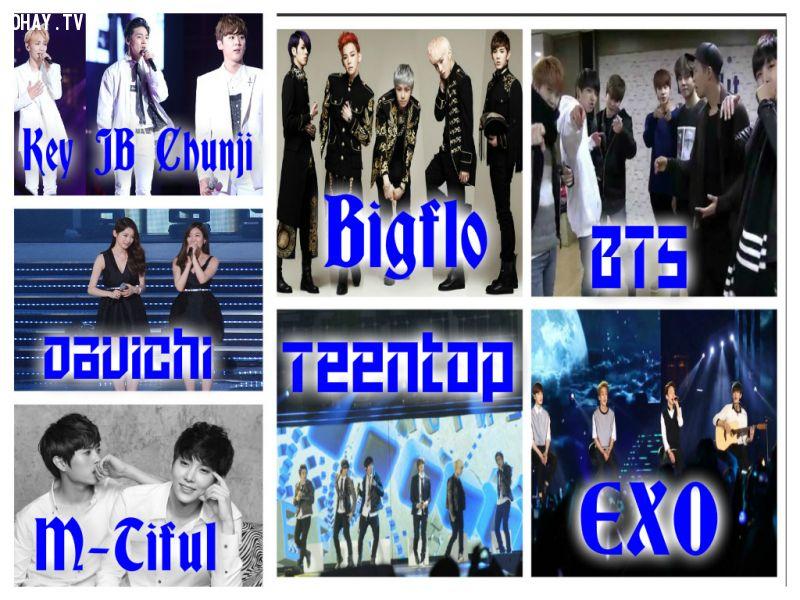 EXO, Teen Top, BTS, Davichi, M-Tiful, Bigflo, Shinee, GOT7