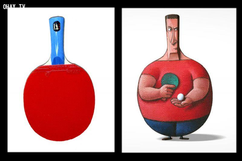 Vợt và người bóng bàn - Sáng tạo nghệ thuật thú vị của Gilbert Legrand