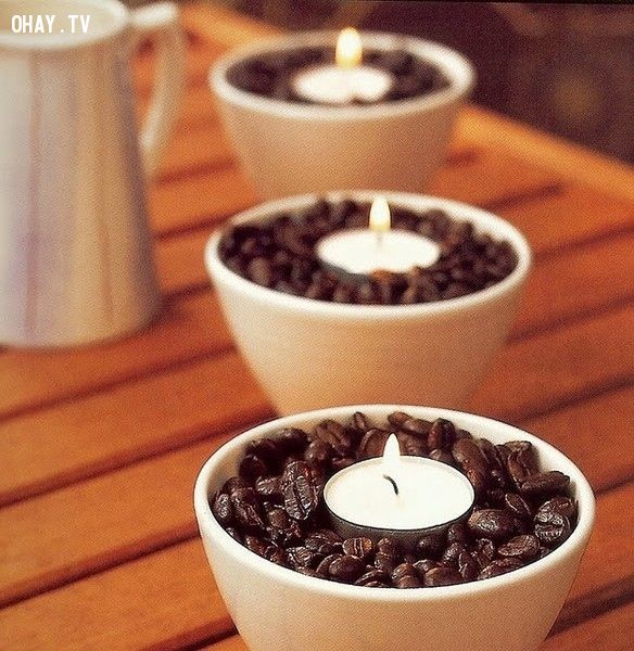 3. Ramekins, Coffee Beans and Tea Lights - Create a Heavenly Ambience