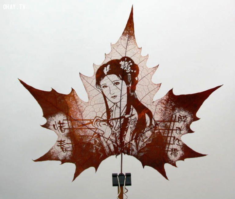 ảnh điêu khắc,nghệ thuật,sáng tạo,điêu khắc trên lá,lá cây