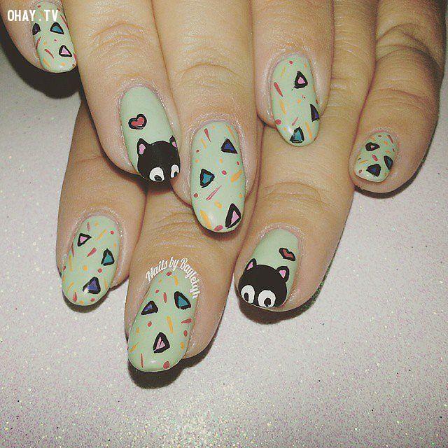 ảnh mẫu móng tay đẹp,mẫu móng tay hình mèo,mẫu móng tay đáng yêu,mẫu móng tay dễ thương,mẫu nail,mẫu móng tay,làm nail,làm móng