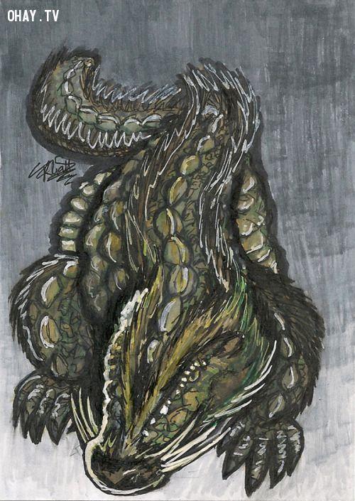 Thủy quái Afanc vẽ