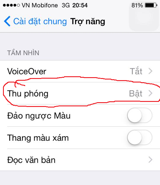 ảnh màn hình iphone bị phóng to,iphone,thủ thuật iphone