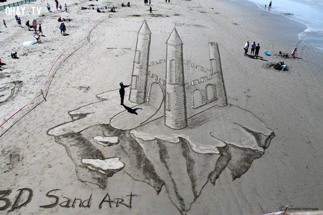 ảnh tranh 3d,tranh trên cát,tranh trên bãi biển,nghệ thuật 3d
