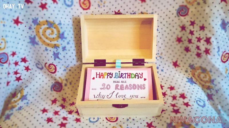 quà handmade, handmade, lãng mạn, tình cảm chân thành, phát sáng , món quà, lý do anh yêu em, hộp quà, sinh nhật