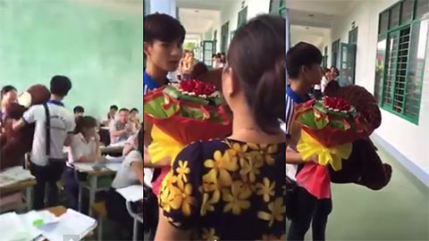 """Chàng Trai dũng cảm mua \""""hoa và gấu bông\"""" đến tận lớp tặng bạn gái và cái kết bất ngờ....."""