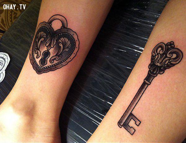 Hình xăm chìa khóa tình yêu
